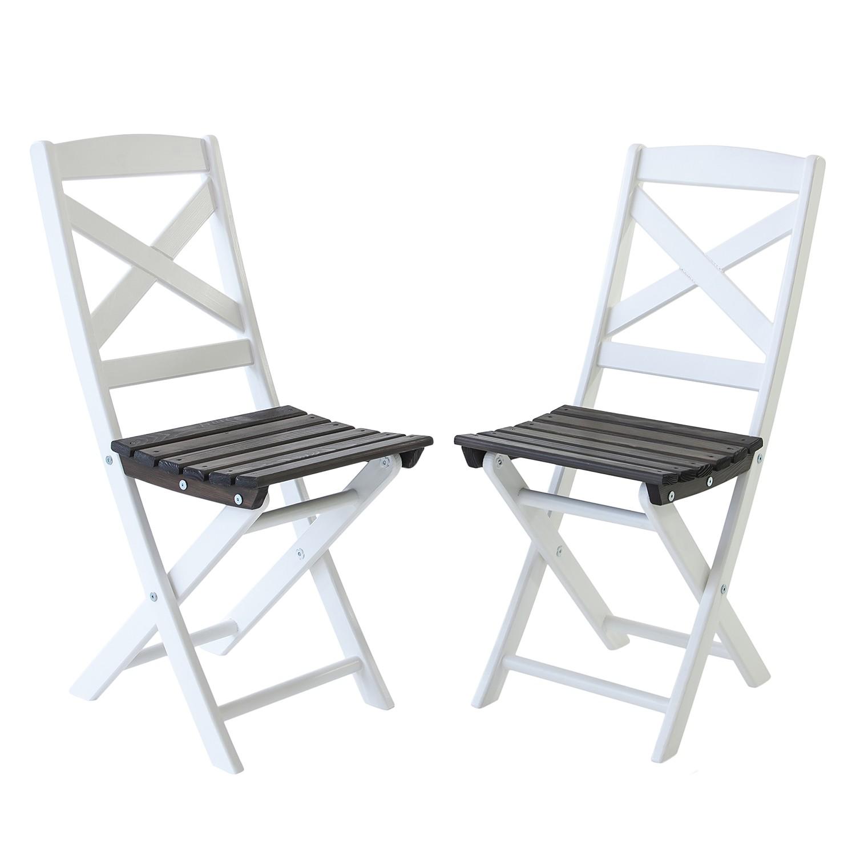 Klappstuhl Lotta (2er-Set) - Kiefer massiv - Weiß / Taupegrau, Gardenho.me