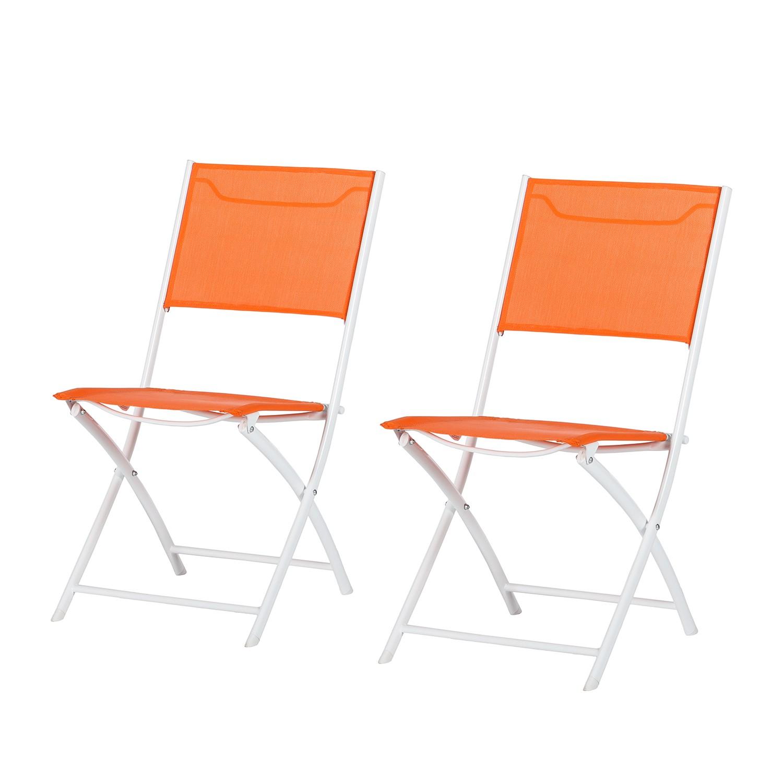 Klappstuhl Ragazza (2er-Set) - Stahl/Textilene Orange, Garden Guerilla