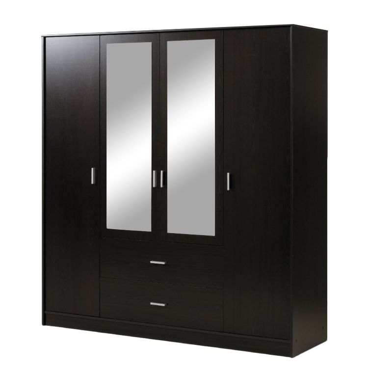 kleiderschrank carla 4 t ren mit zwei spiegeln dekor wei. Black Bedroom Furniture Sets. Home Design Ideas