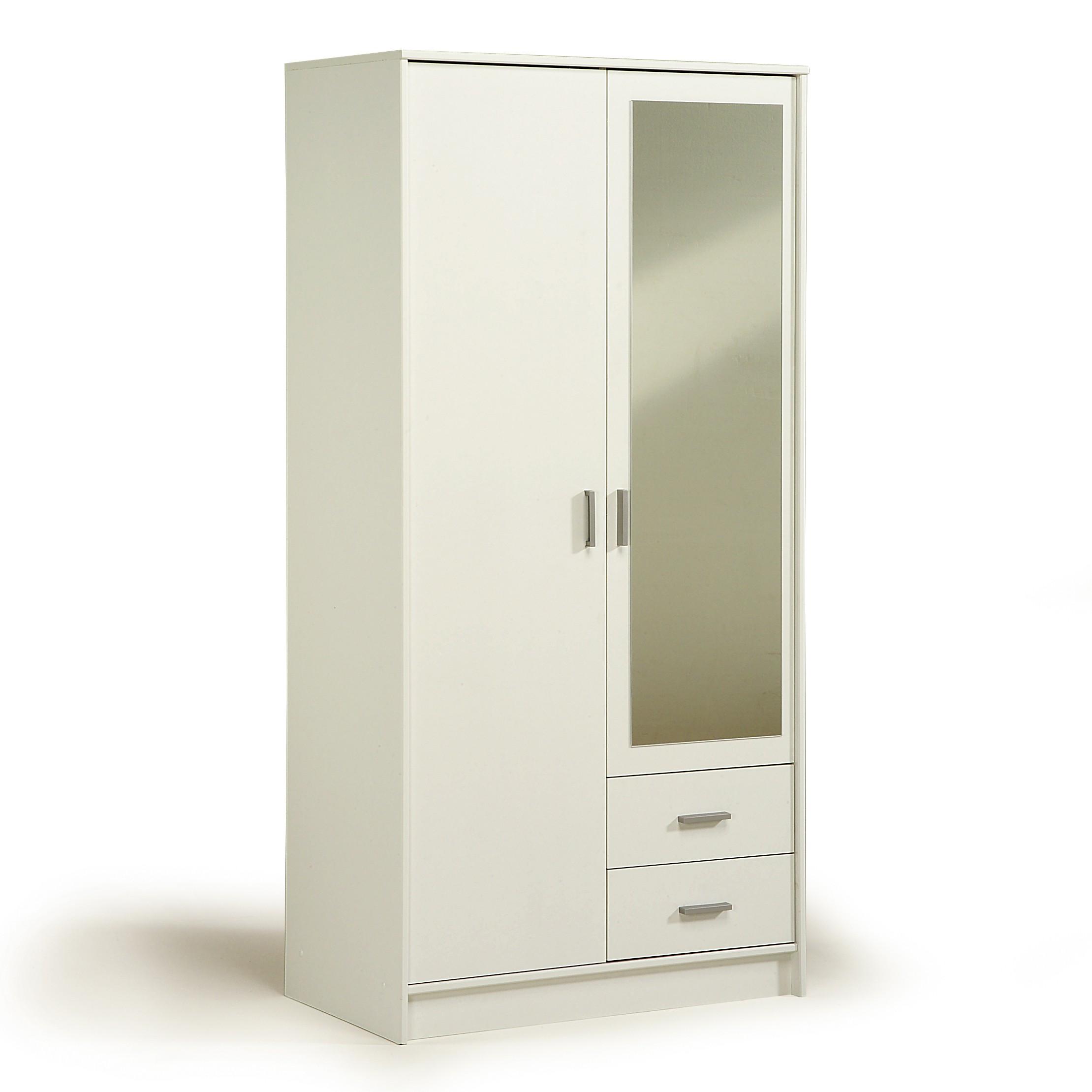 Kleiderschrank Initial - mit Spiegel (Dekor: Weiß) - Schrank.info ...
