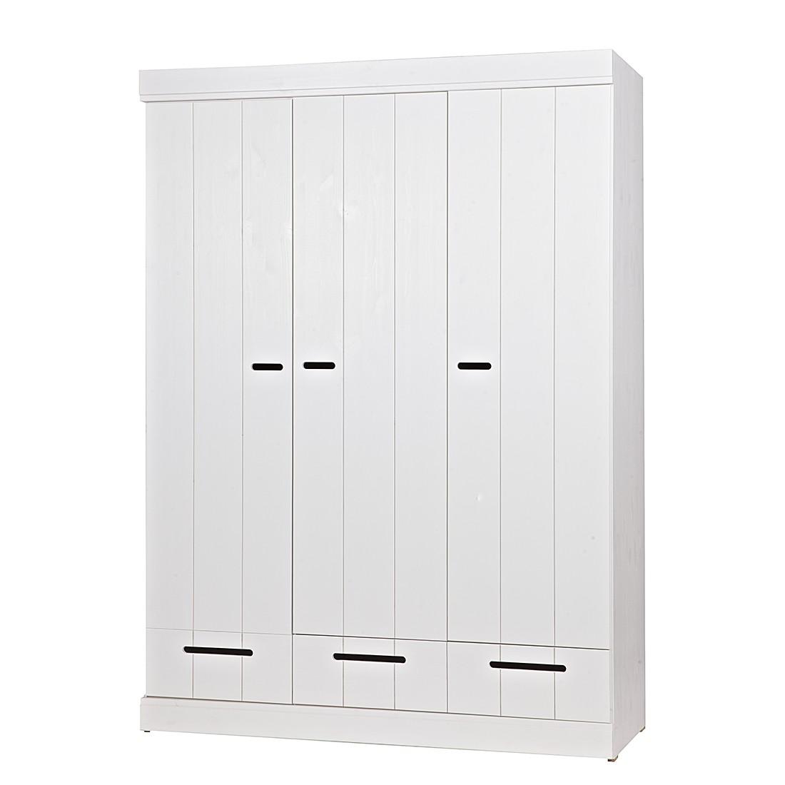 Kleiderschrank Connect Drawer II –  Kiefer massiv – Cremeweiß, Woood günstig
