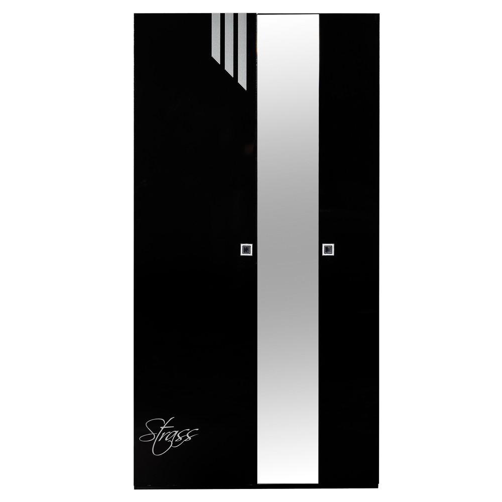 Kleiderschrank weiß schwarz hochglanz  Kleiderschrank Faktura - Schwarz Hochglanz - Mit Spiegel - Schrank ...