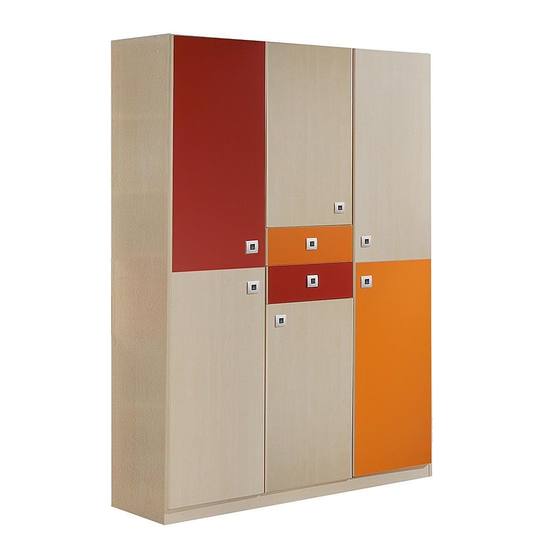Kleiderschrank Sunny II – Ahorn/Orange-Rot, Wimex online kaufen