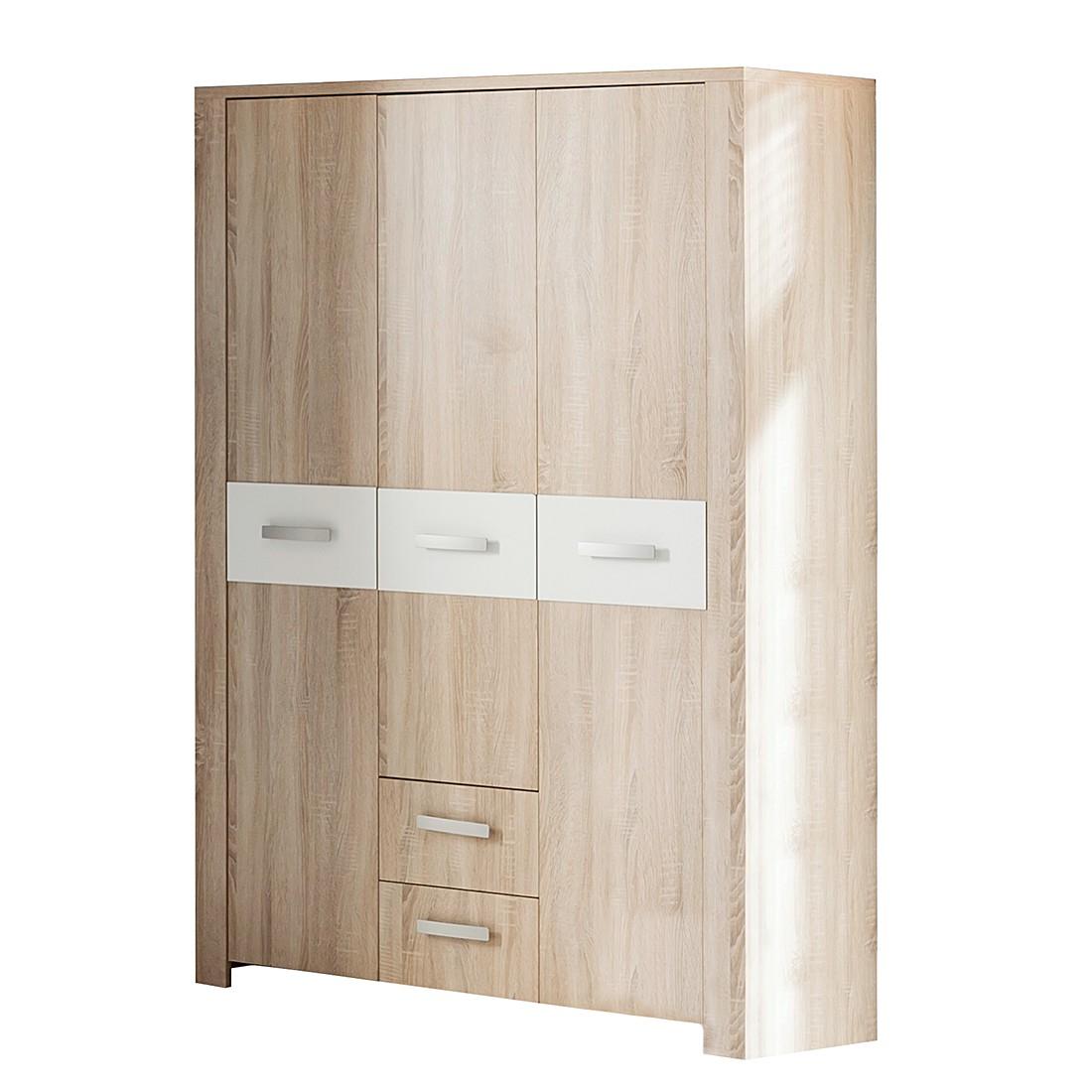 Kleiderschrank Henri - Eiche sägerau Dekor / Weiß