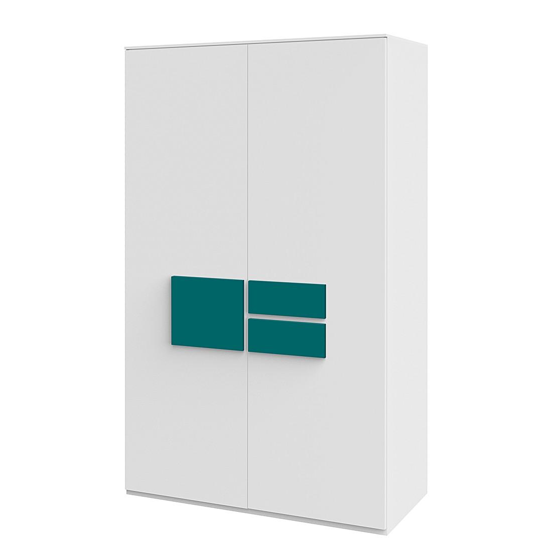 Kleiderschrank HiLight – Weiß / Türkis – 126 cm (2-türig), röhr günstig online kaufen