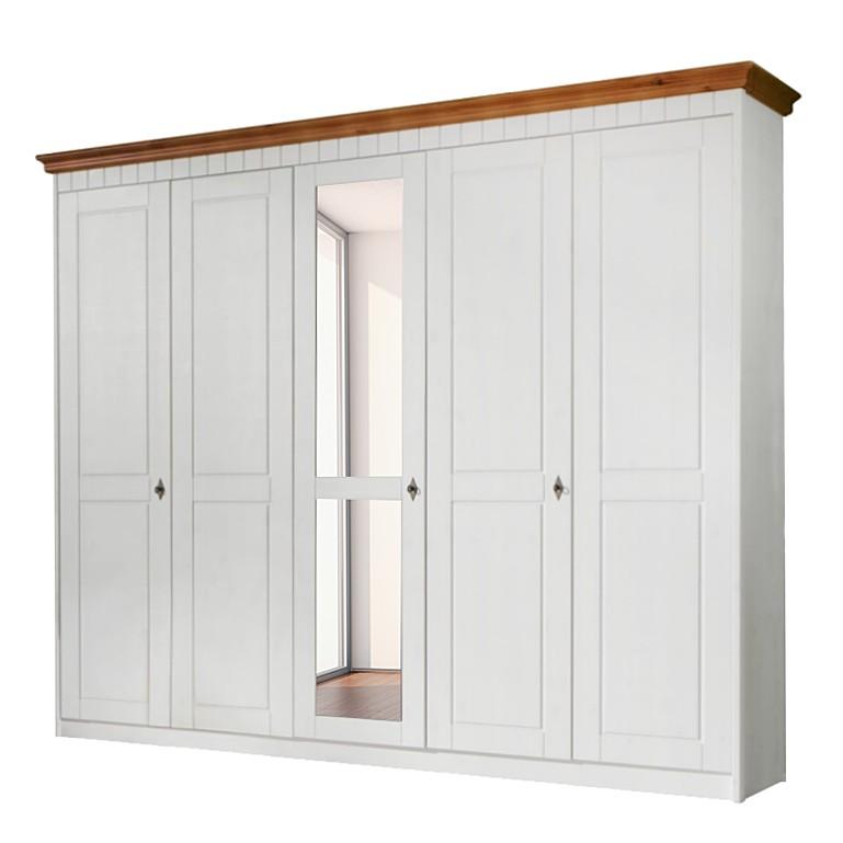 Kleiderschrank Korsika Weiß Lasiertbernsteinfarben Landhaus