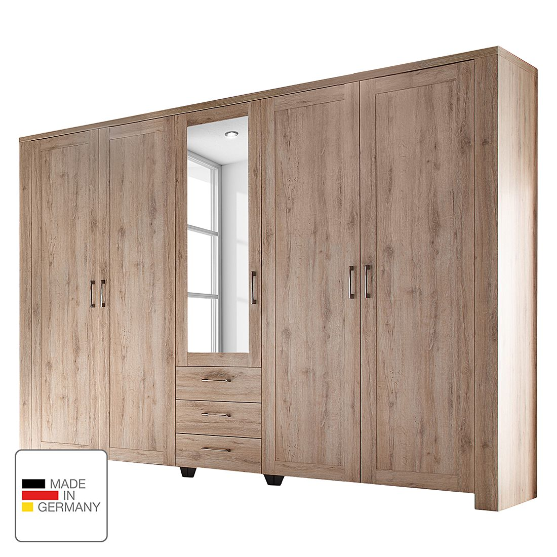 kleiderschrank lupo eiche sanremo hell ohne. Black Bedroom Furniture Sets. Home Design Ideas