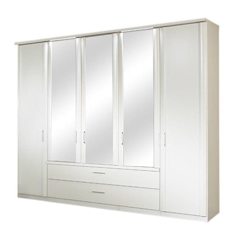 Kleiderschrank Malin - Weiß/Spiegel - Fünf Türen & zwei Schubladen