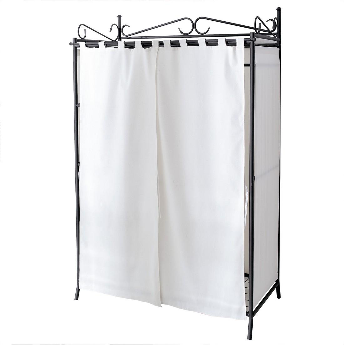 Kleiderschrank mit Schuhablage Air – Metall/Baumwolle – Schwarz/Weiß, PureDay jetzt kaufen