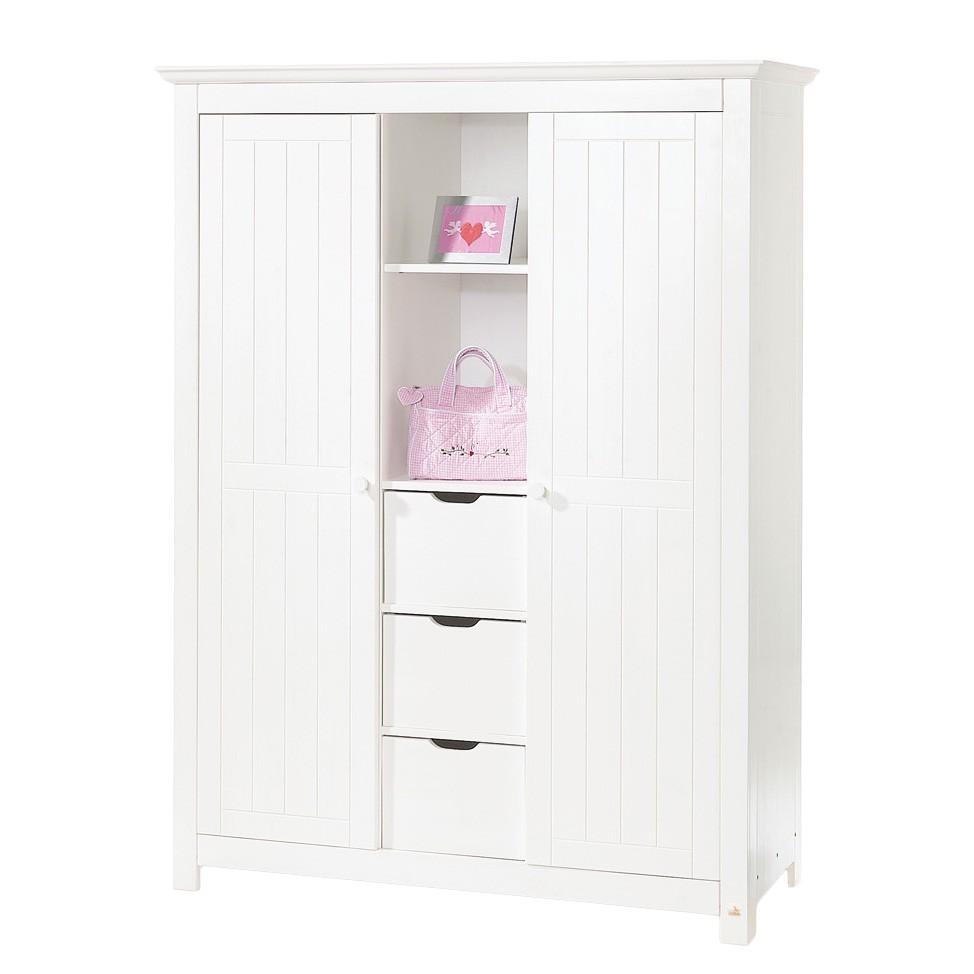 Kleiderschrank Nina - Fichte massiv - Weiß lasiert, Pinolino