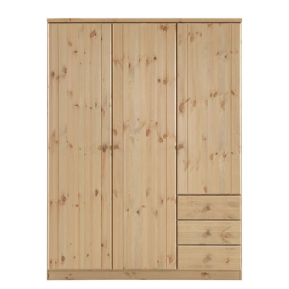 kleiderschrank ribe kiefer natur dilavato gebeizt 150 cm 3 t rig steens jetzt kaufen. Black Bedroom Furniture Sets. Home Design Ideas