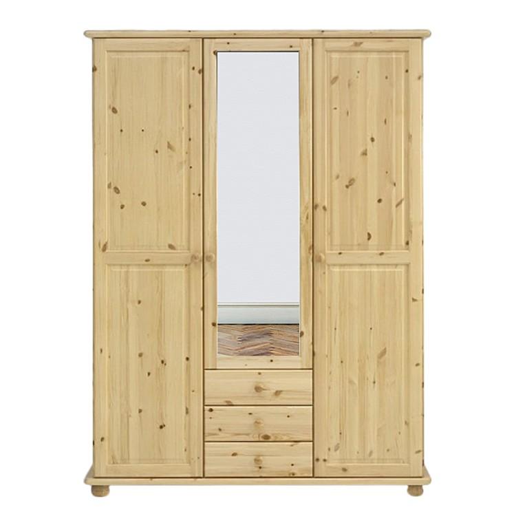 kleiderschrank rog 3 t rig mit spiegel und 3 schubk sten natur lackiert. Black Bedroom Furniture Sets. Home Design Ideas