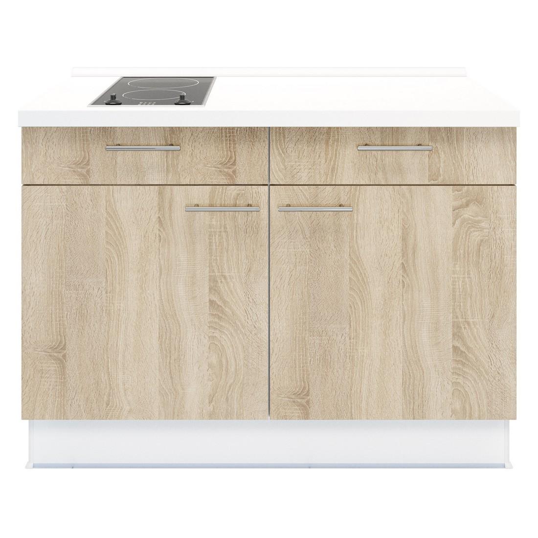 Kochschrank Basic – mit 2-Zonen Glaskeramik Kochfeld – Eiche Sonoma Dekor – Ausrichtung Links, Kiveda günstig kaufen
