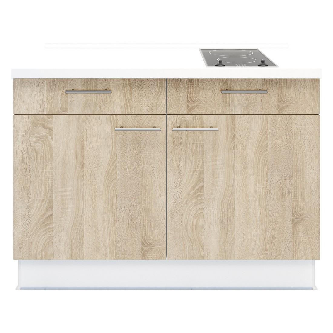 Kochschrank Basic – mit 2-Zonen Glaskeramik Kochfeld – Eiche Sonoma Dekor – Ausrichtung Rechts, Kiveda online bestellen