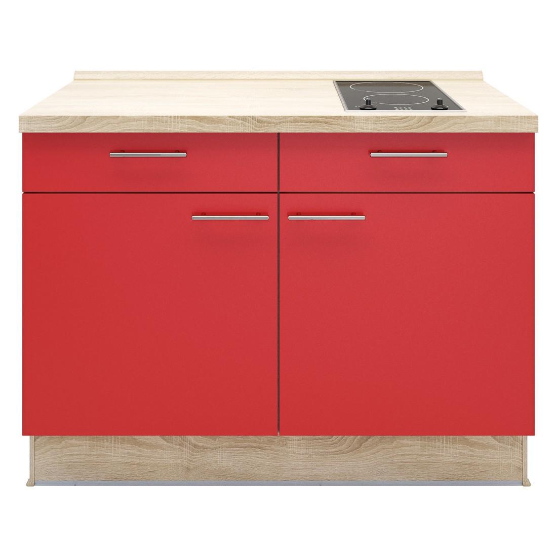 Kochschrank Basic – mit 2-Zonen Glaskeramik Kochfeld – Rot – Ausrichtung Rechts, Kiveda günstig online kaufen