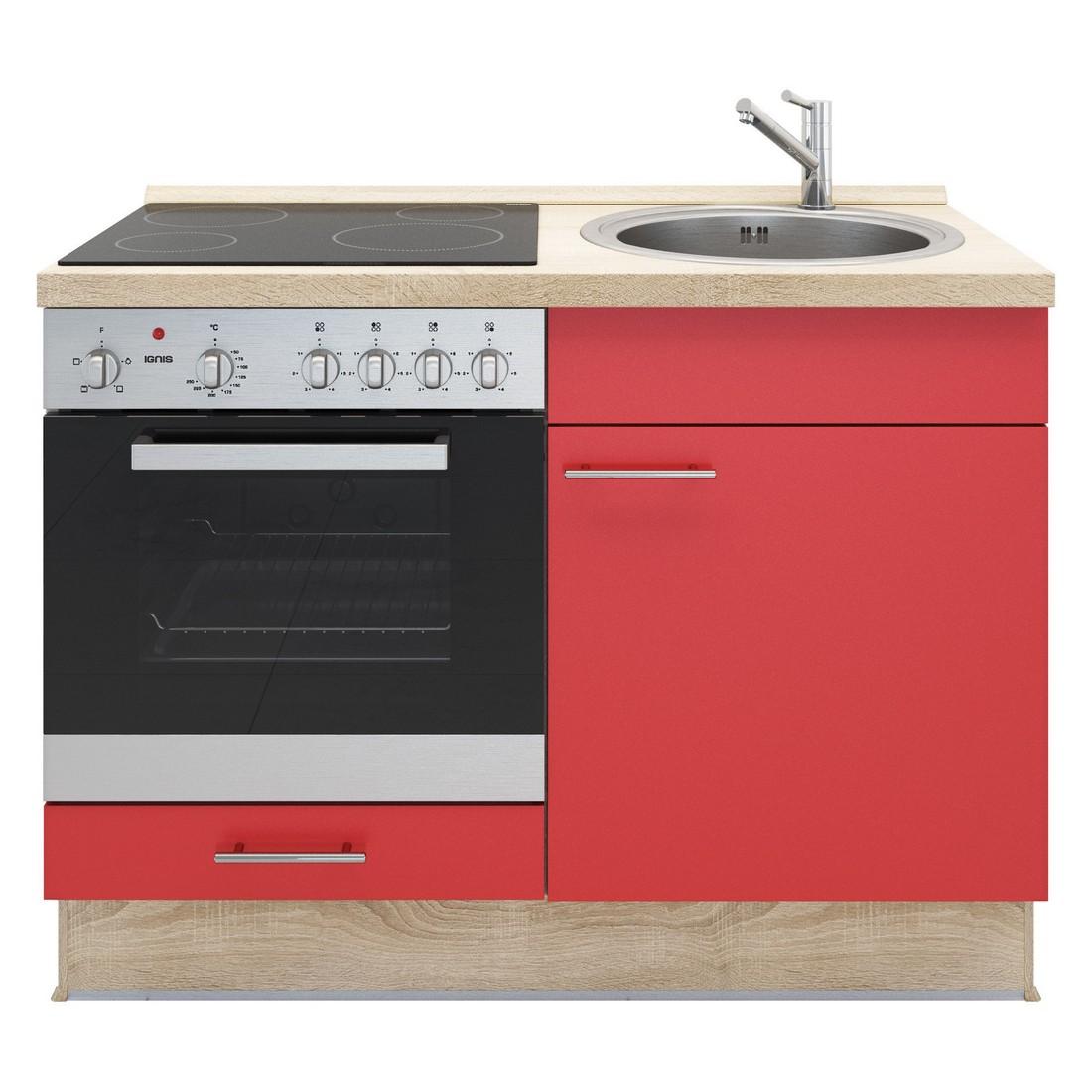 Kochschrank Basic – mit Edelstahlspüle – Glaskeramik Kochfeld und Backofen – Rot – Ausrichtung Links, Kiveda jetzt bestellen