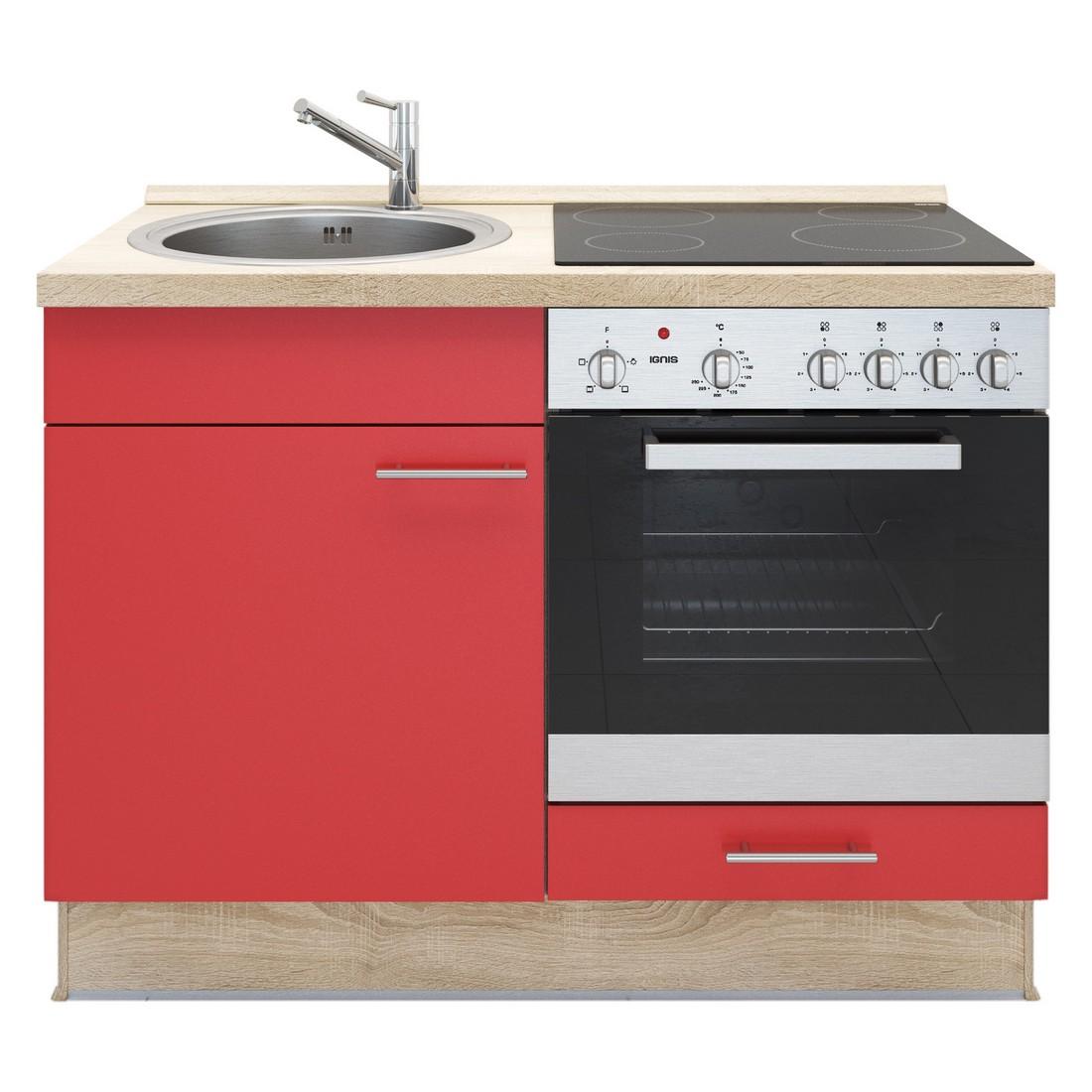 Kochschrank Basic – mit Edelstahlspüle – Glaskeramik Kochfeld und Backofen – Rot – Ausrichtung Rechts, Kiveda online bestellen