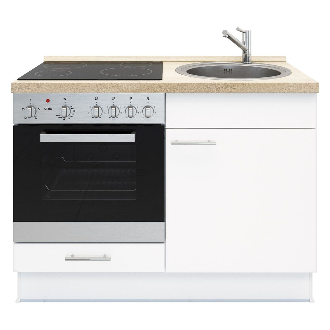 Kochschrank Basic – mit Edelstahlspüle – Glaskeramik Kochfeld und Backofen – Weiß – Ausrichtung Links, Kiveda günstig online kaufen