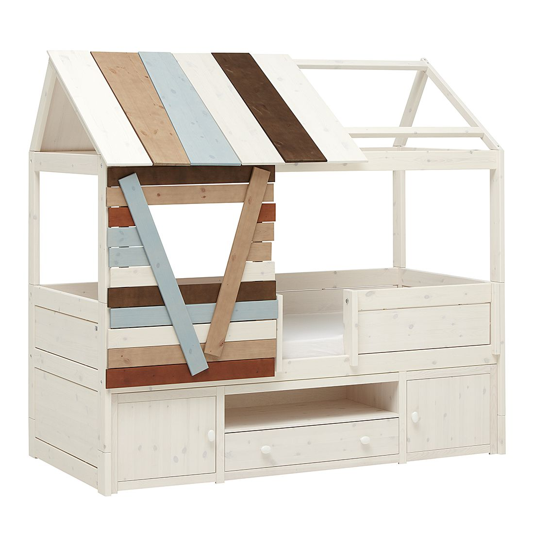 Kojenbett Hütte Lifetime Original - Kiefer massiv - Whitewash - Mit Rollrost, Lifetime Kidsrooms