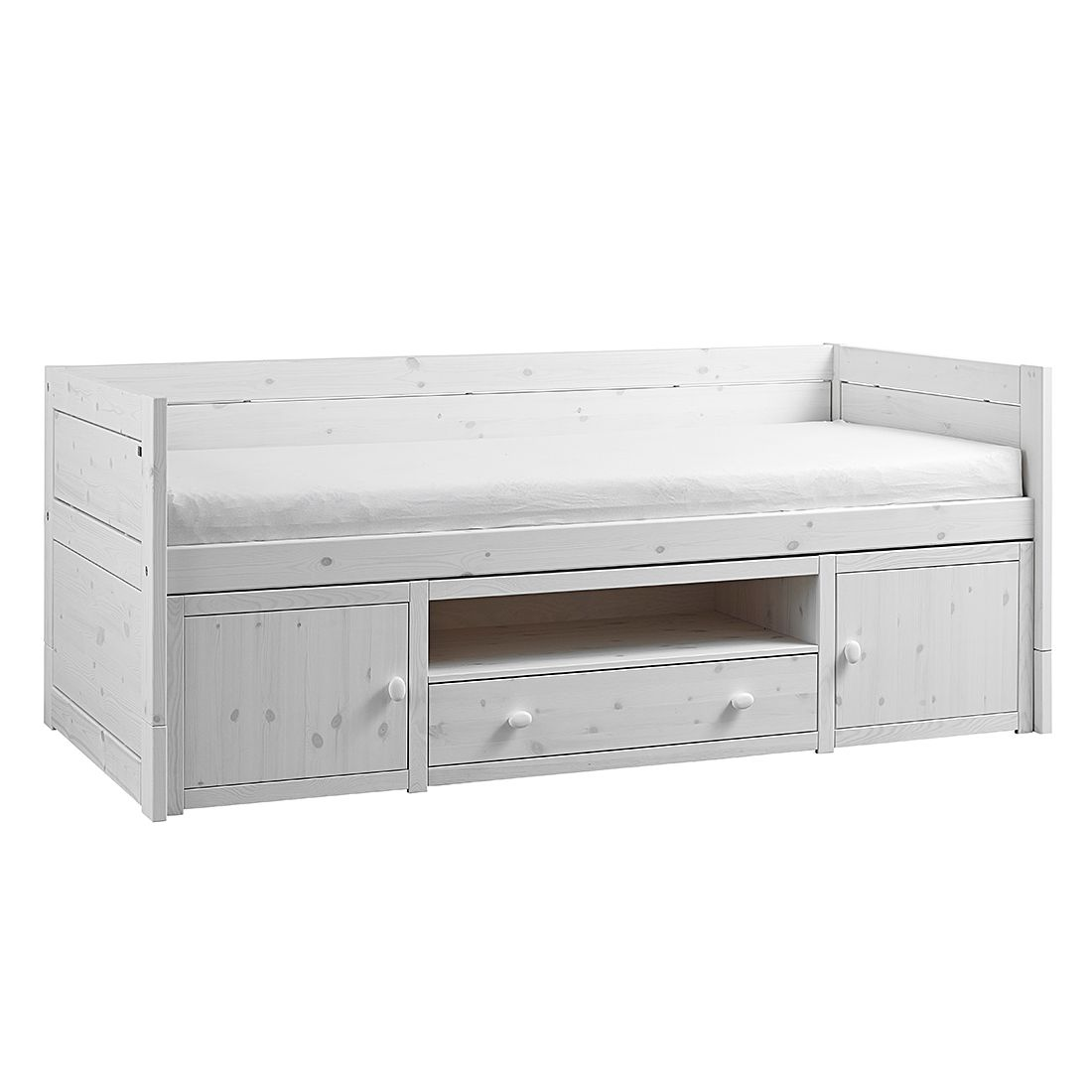 Kojenbett II Lifetime Original - Kiefer massiv - Whitewash - Mit Rollrost, Lifetime Kidsrooms