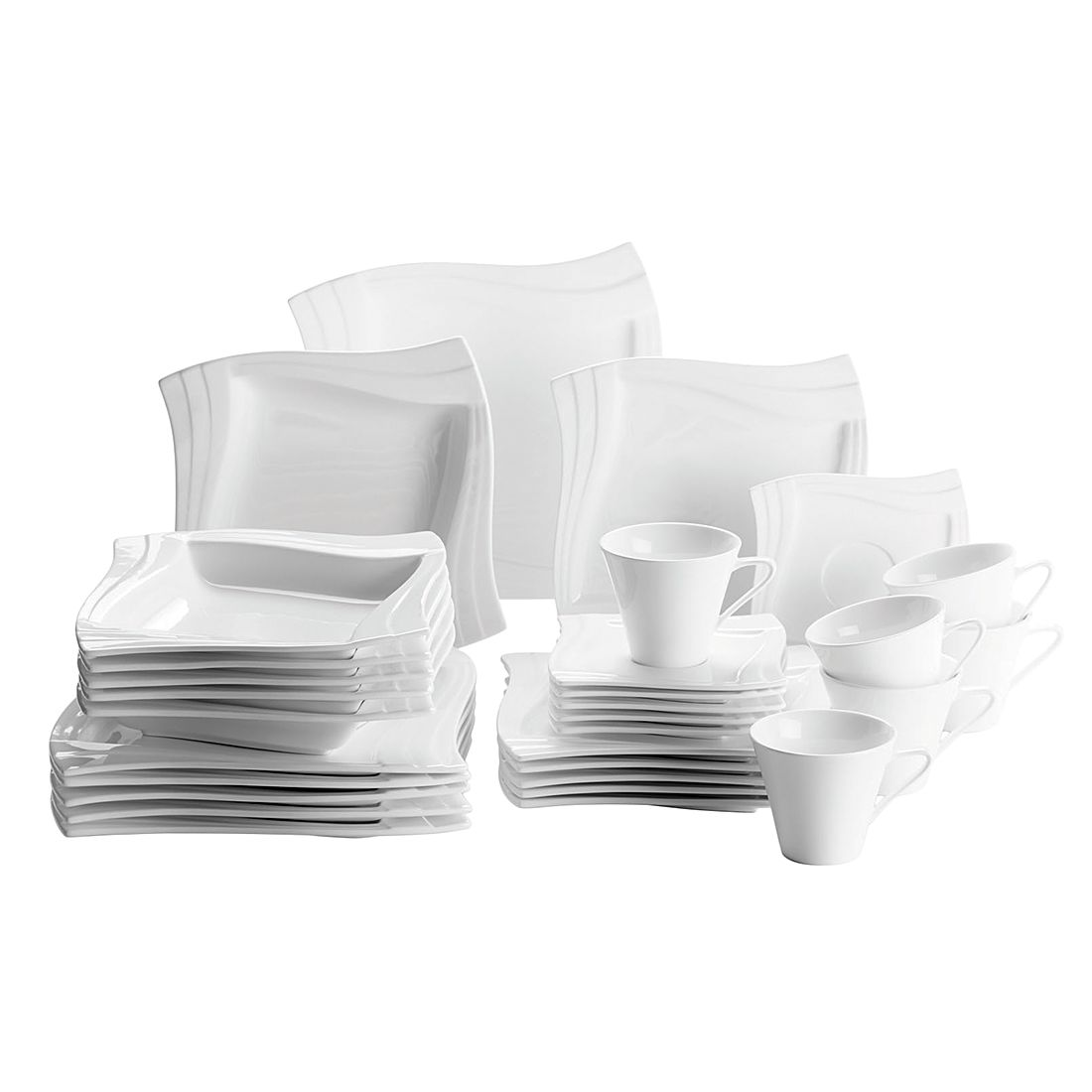 Kombiservice (30- teilig) Molina – Aluminiumporzellan/Weiss, Mäser günstig kaufen