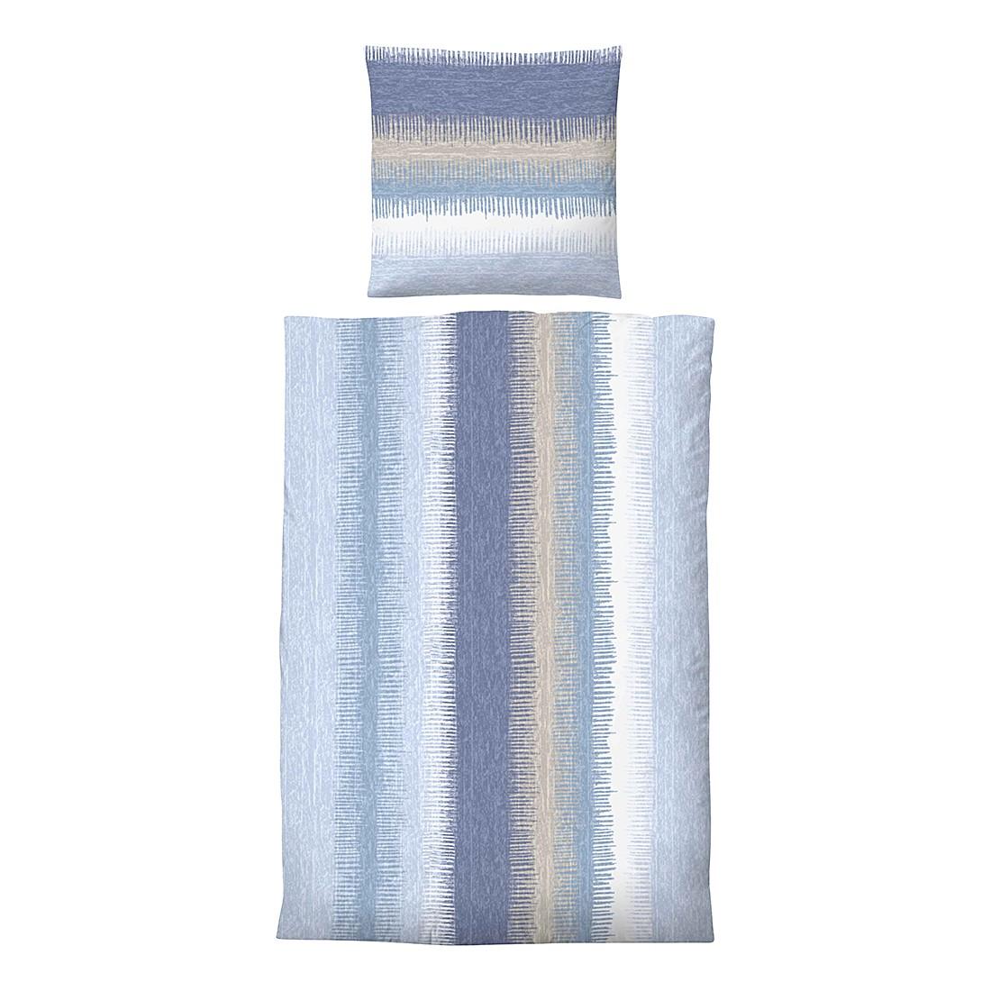 Komfort-Biber-Bettwäsche Susann – Blau – 135 x 200 cm + Kissen 80 x 80 cm, Biberna günstig