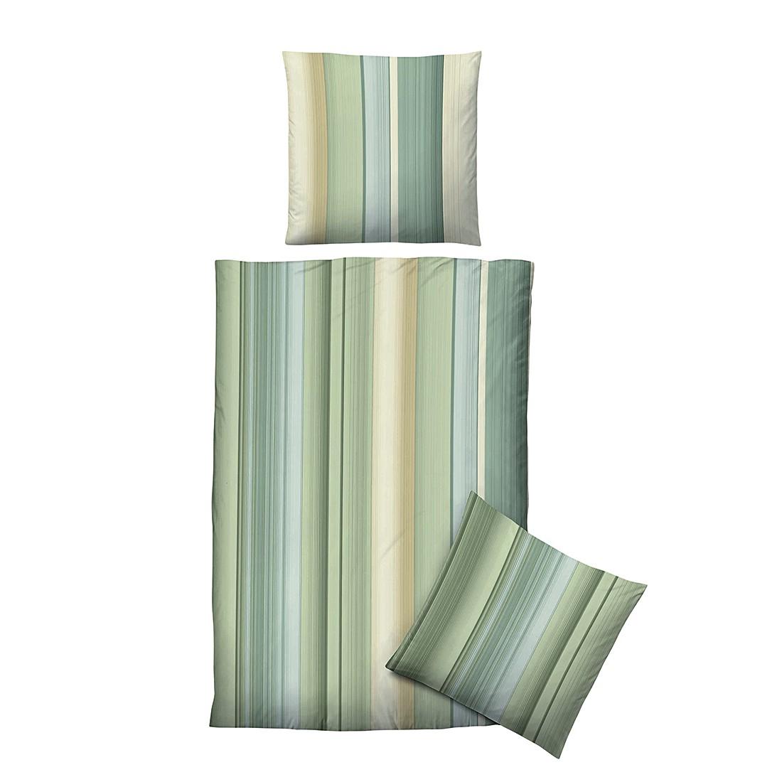 Baumwoll Jersey Bettwäsche Grün Gestreift 220x155cm Biberna Kaufen