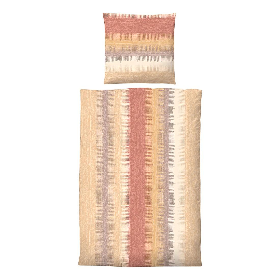 Komfort-Biber-Bettwäsche Susann – Orange – 135 x 200 cm + Kissen 80 x 80 cm, Biberna online kaufen