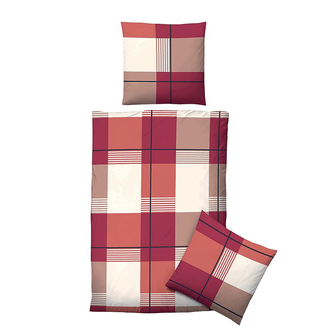 Komfort-Biber-Bettwäsche Susann – Rostbraun – 155 x 220 cm + Kissen 80 x 80 cm, Biberna günstig bestellen