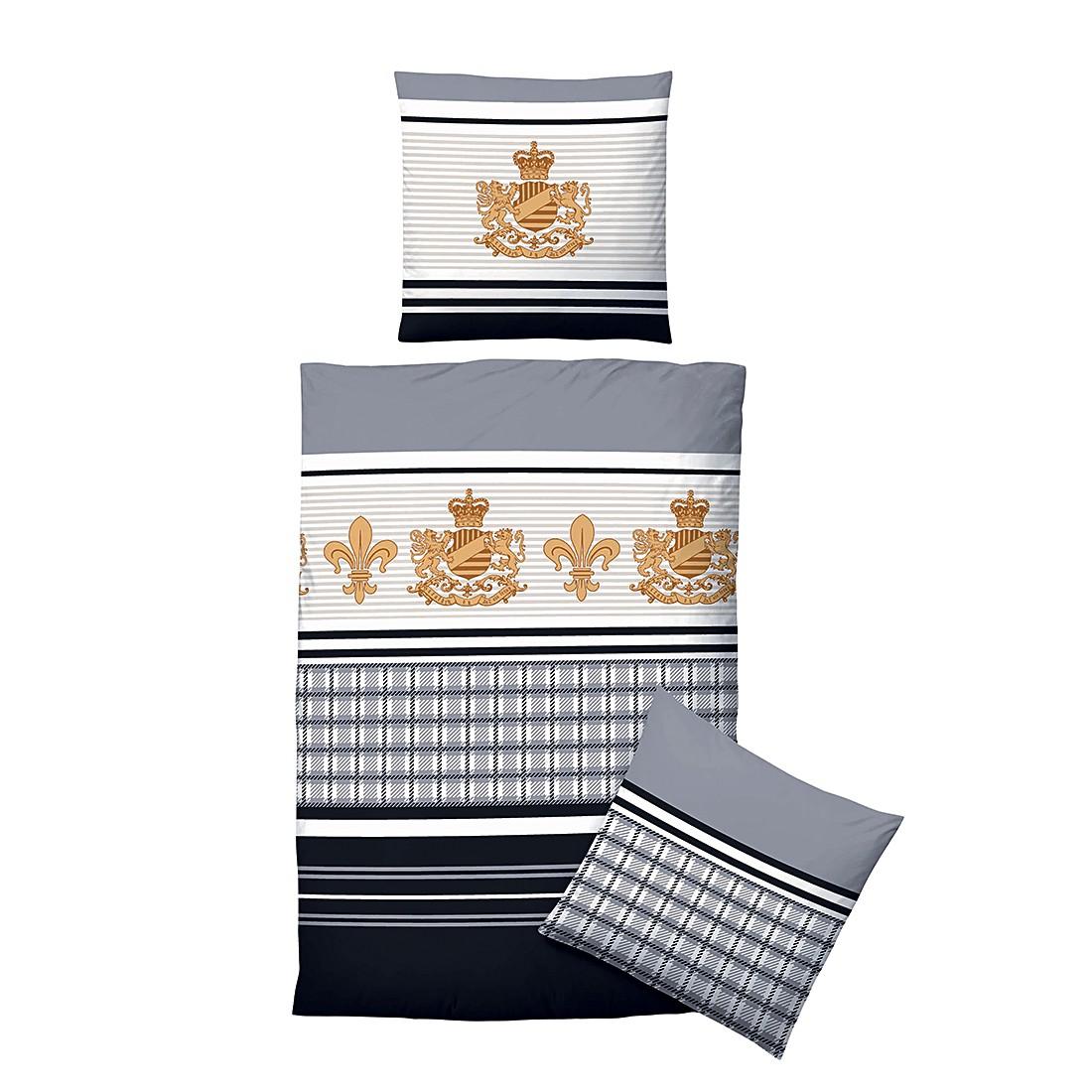 Komfort-Biber-Bettwäsche Susann – Schwarz – 135 x 200 cm + Kissen 80 x 80 cm, Biberna günstig bestellen