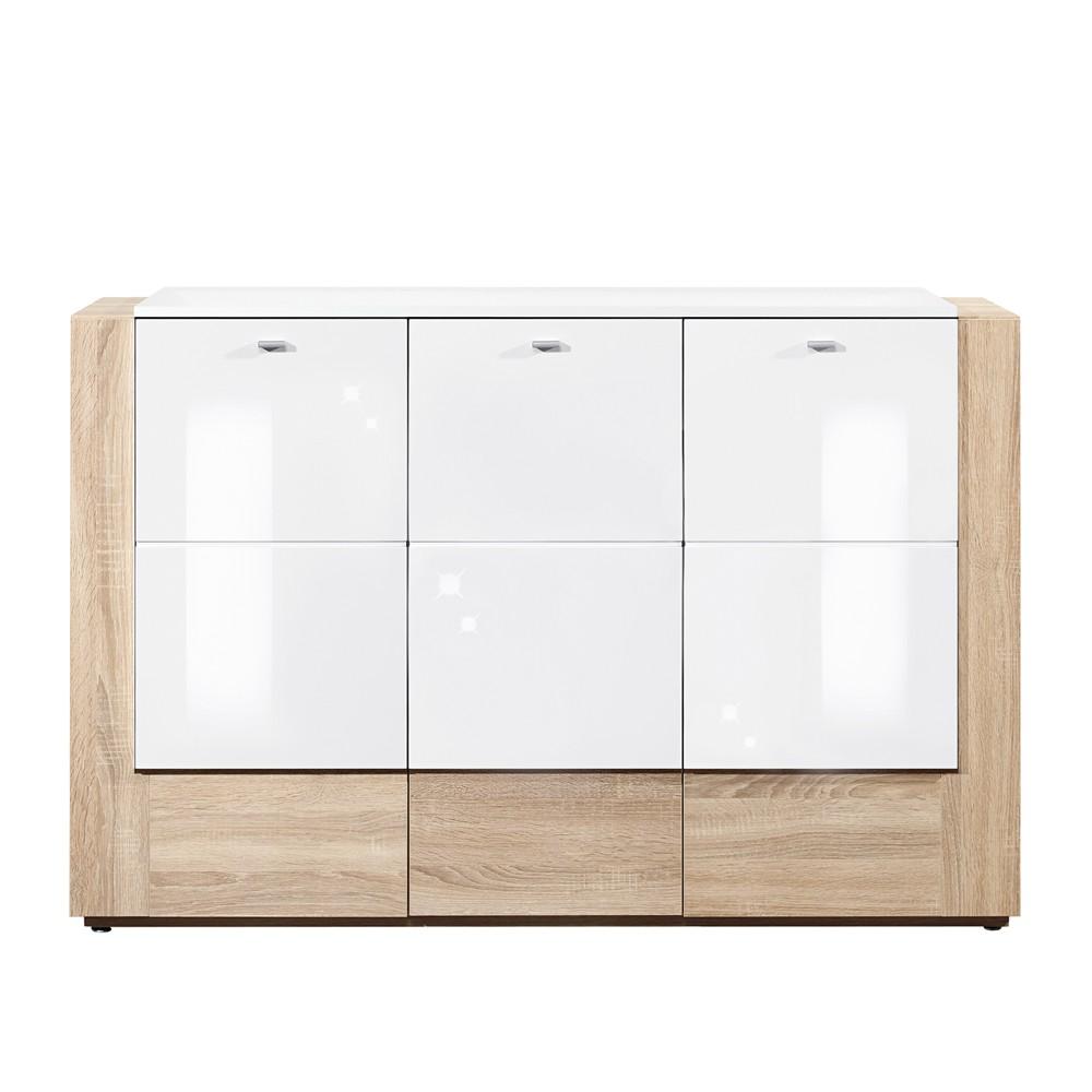kommode ancona eiche dekor wei hochglanz 142cm breit. Black Bedroom Furniture Sets. Home Design Ideas