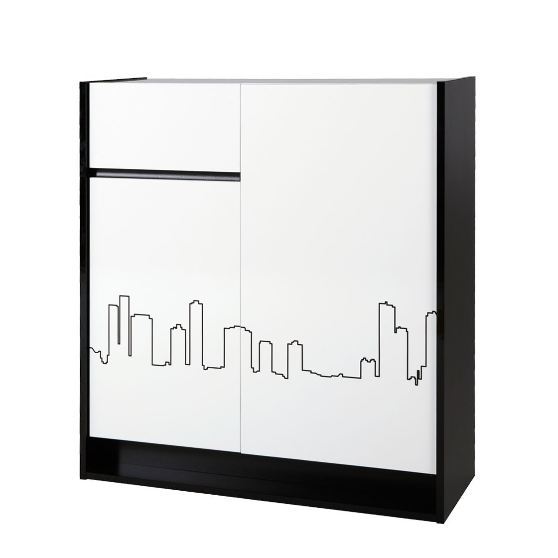Kommode Chester - Schwarz/Weiß Hochglanz - Skyline Motiv