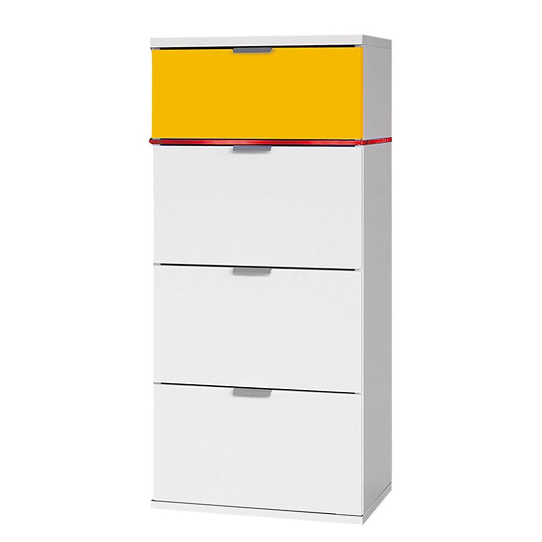 Kommode ColourSleep II - Polarweiß/Gelb (Mit Beleuchtung)
