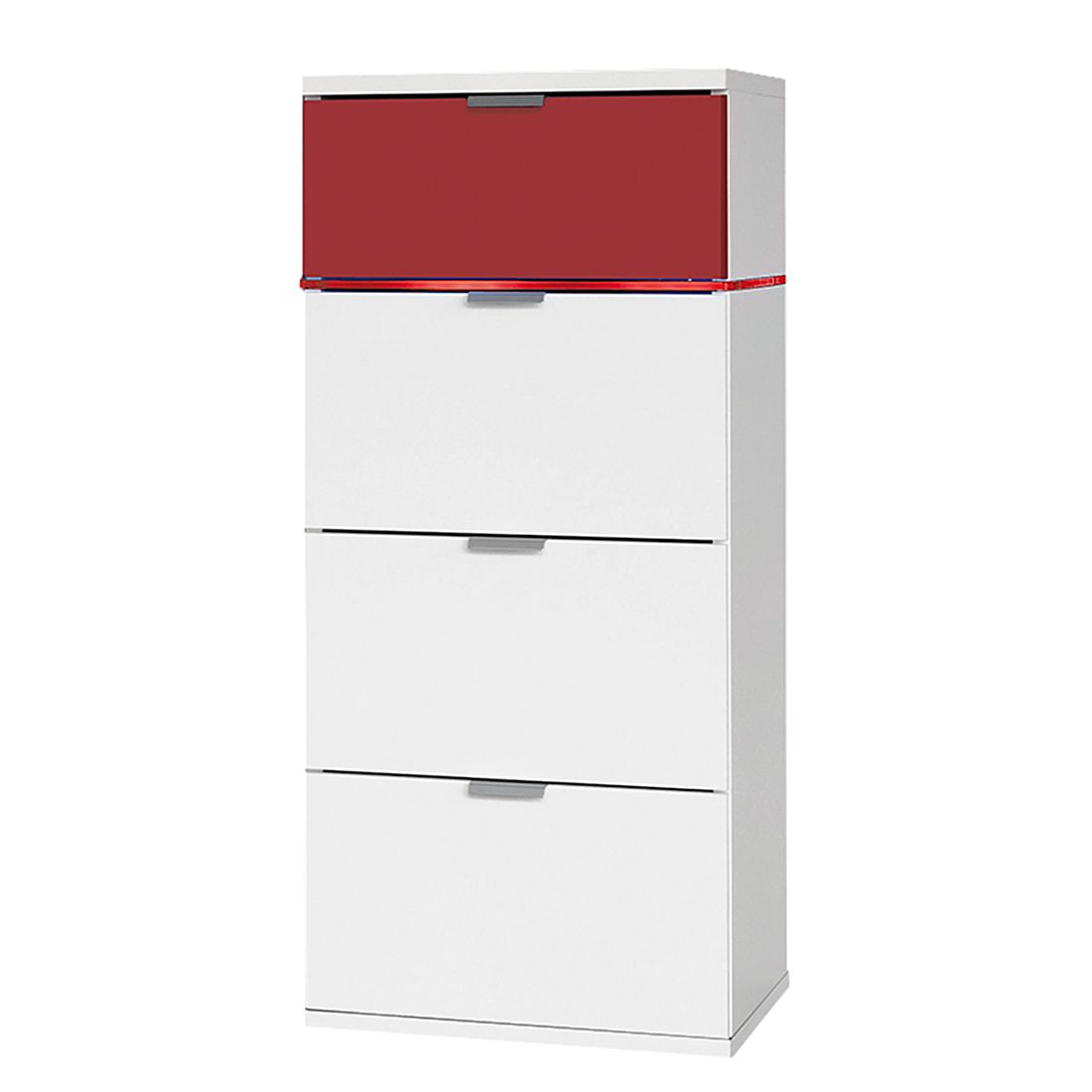kommode coloursleep ii polarwei rot mit beleuchtung. Black Bedroom Furniture Sets. Home Design Ideas