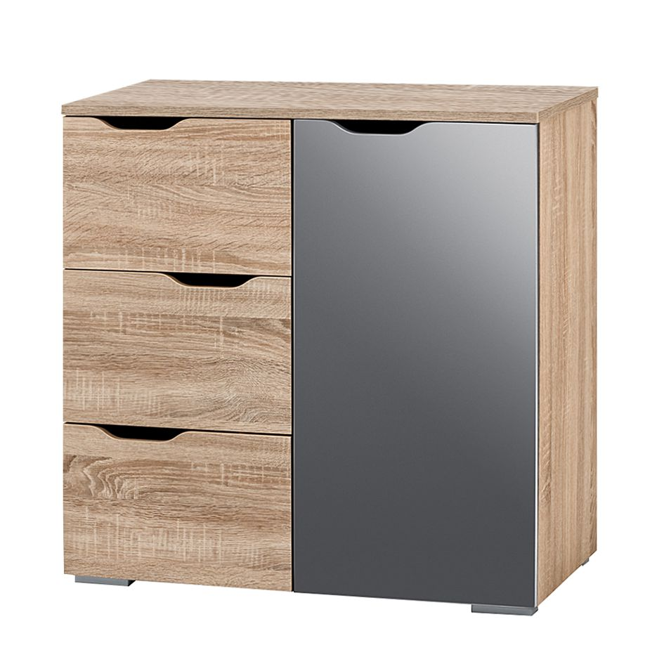 kommode lia i sonoma eiche dekor grau hochglanz. Black Bedroom Furniture Sets. Home Design Ideas
