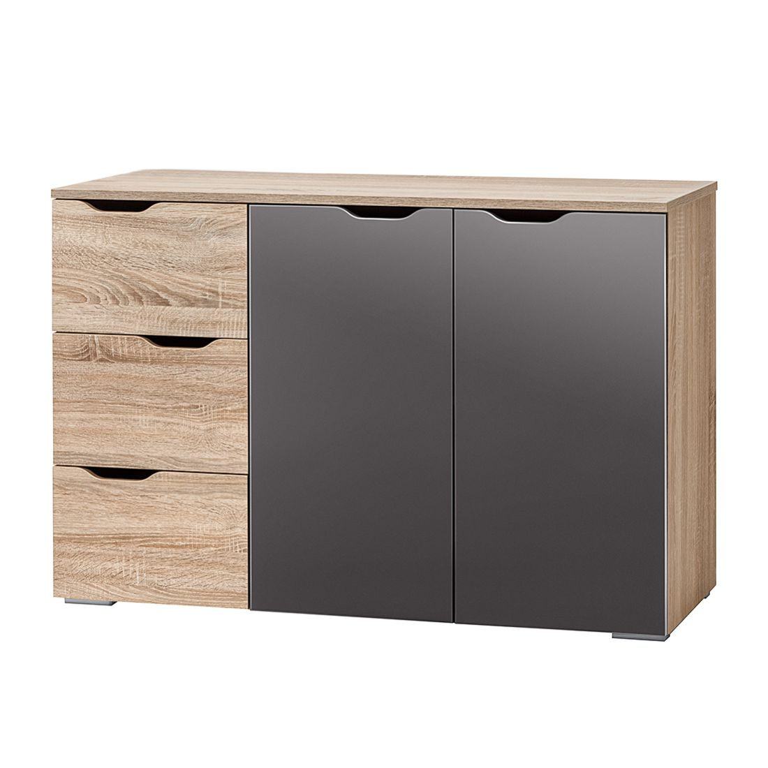 kommode lia ii sonoma eiche dekor grau hochglanz. Black Bedroom Furniture Sets. Home Design Ideas