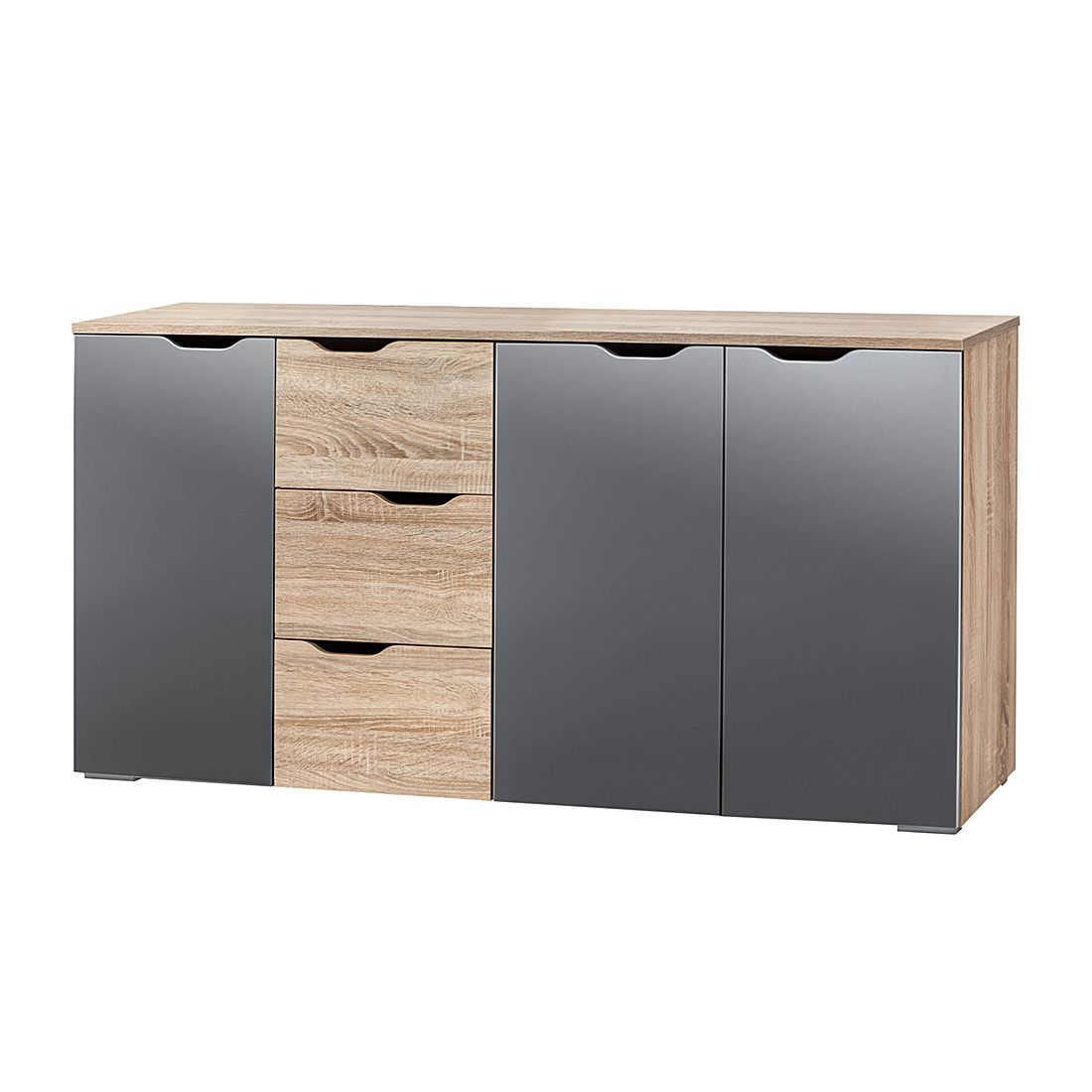 kommode lia iii sonoma eiche dekor grau hochglanz. Black Bedroom Furniture Sets. Home Design Ideas