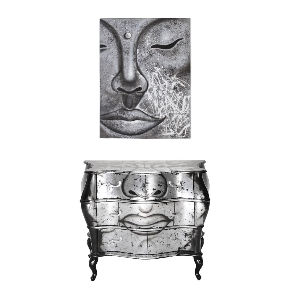 kommode mit bild sinfonica 2 teilig silber schwarz buddha motiv. Black Bedroom Furniture Sets. Home Design Ideas
