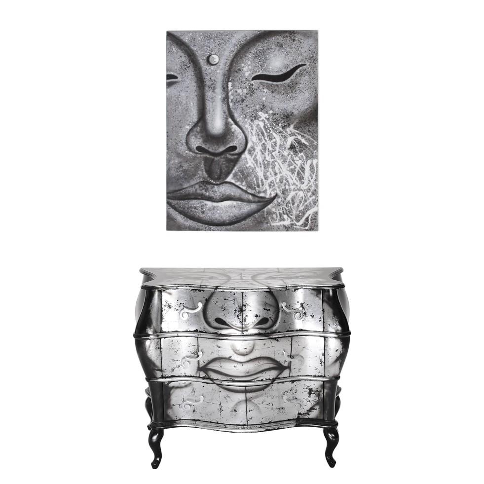 kommode mit bild sinfonica 2 teilig silber schwarz buddha motiv. Black Bedroom Furniture Sets. Home Design Ideas