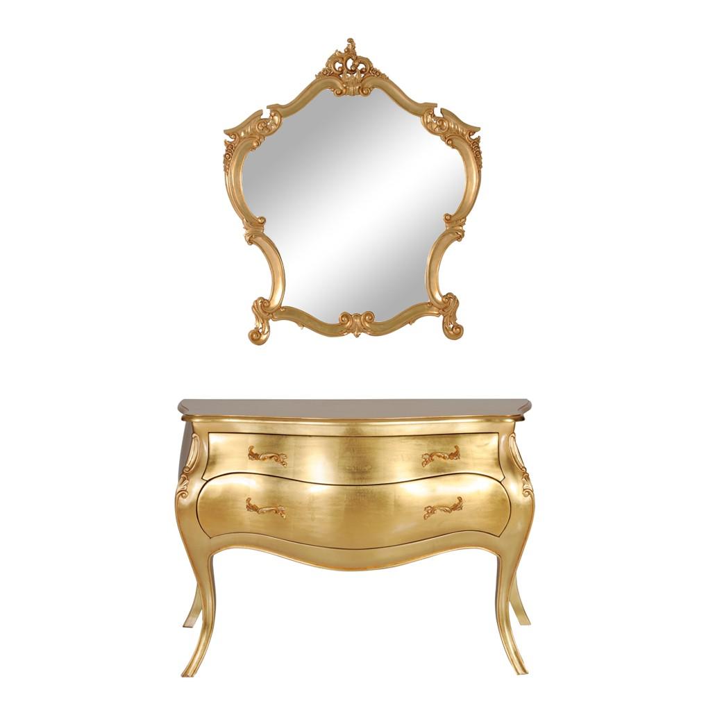 kommode mit spiegel sinfonica 2 teilig goldfarben lackiert mahagoni teilmassiv schrank. Black Bedroom Furniture Sets. Home Design Ideas