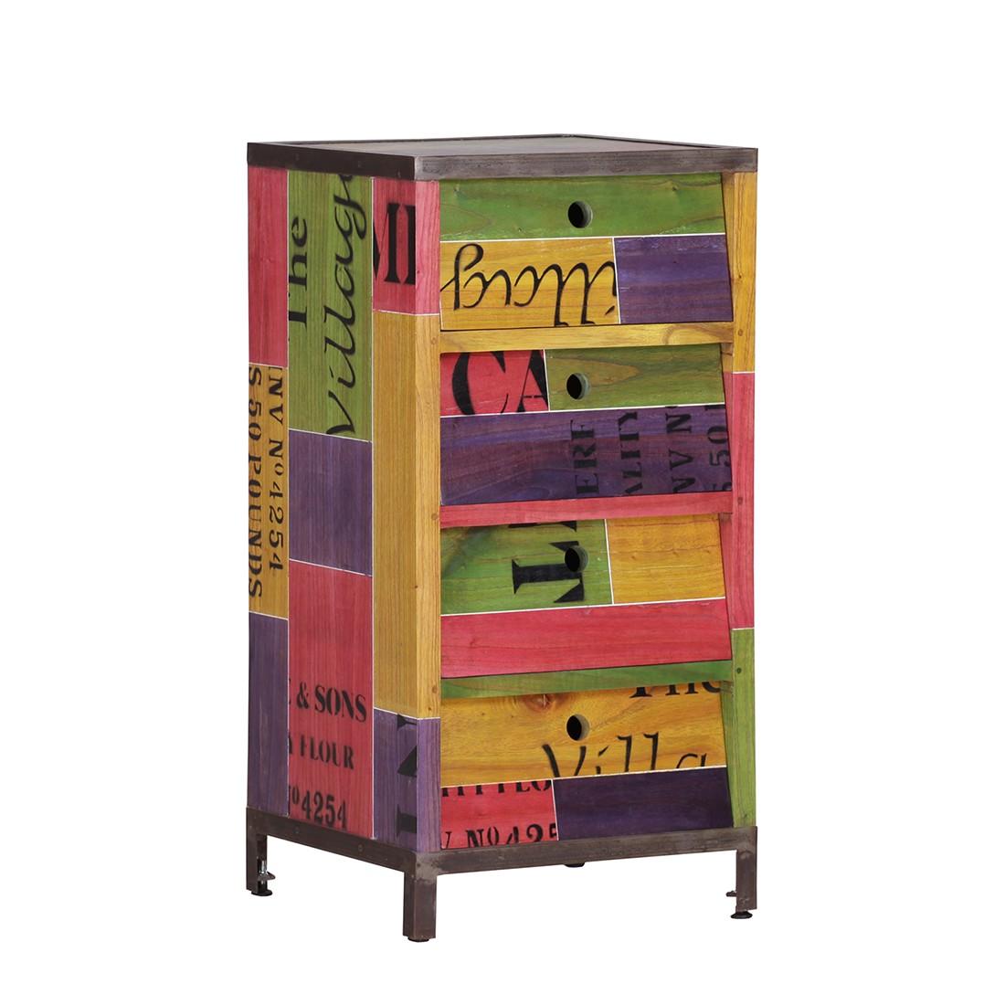 Kommode Paint I -  Mindi massiv - Mehrfarbig - lackiert