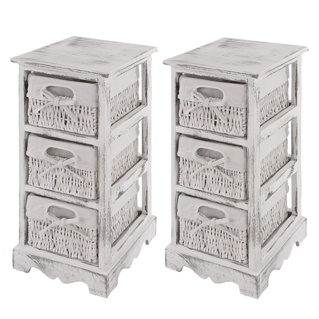 2x Regal  mit 3 Korbschubladen 58x25x28cm, Shabby-Look, Vintage - weiß, Mendler