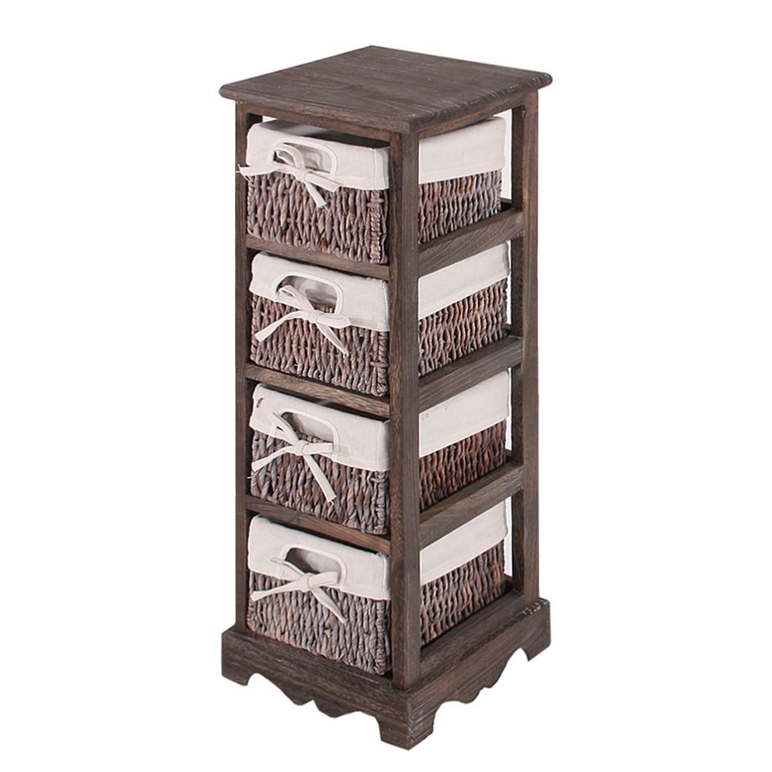 Regal  mit 4 Korbschubladen 74x25x28cm, Shabby-Look, Vintage – braun, Mendler jetzt kaufen