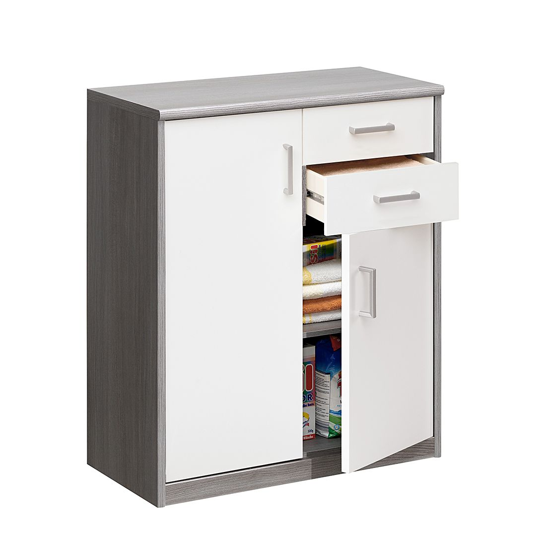 Kommode Soft Plus Ii Silbereiche Dekor Hochglanz Weiss Schrank