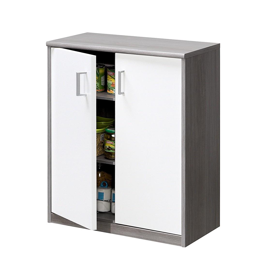 Kommode Soft Plus I – Silbereiche Dekor/Hochglanz Weiß, CS Schmal günstig bestellen