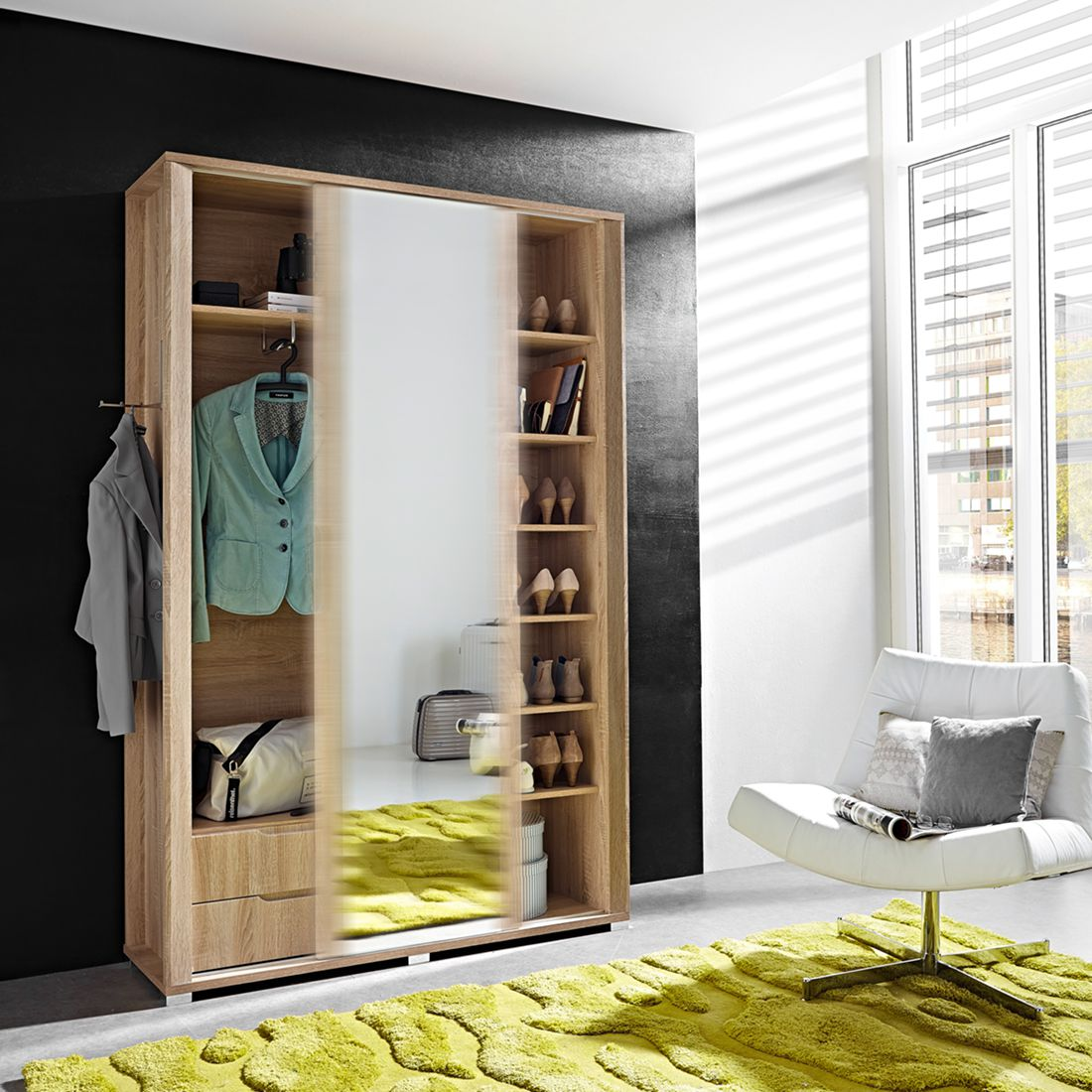 garderobe set eiche g nstig kaufen. Black Bedroom Furniture Sets. Home Design Ideas