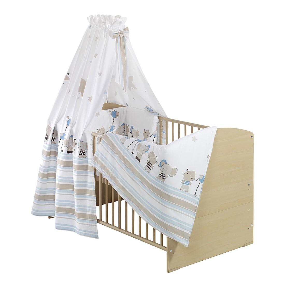 Komplettbett CLASSIC LINE (inkl. Matratze & Textil-Set) – Buche massiv – lackiert – Textil: Braun gepunktet, Schardt günstig bestellen