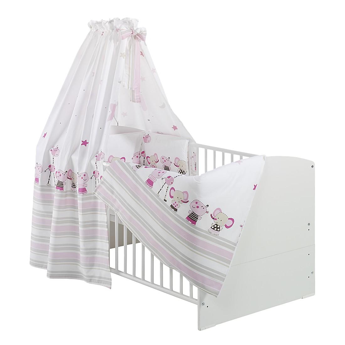 Komplettbett CLASSIC LINE (inkl. Matratze & Textil-Set) – Buche massiv – Weiß lackiert – Textil: Braun gepunktet, Schardt günstig bestellen