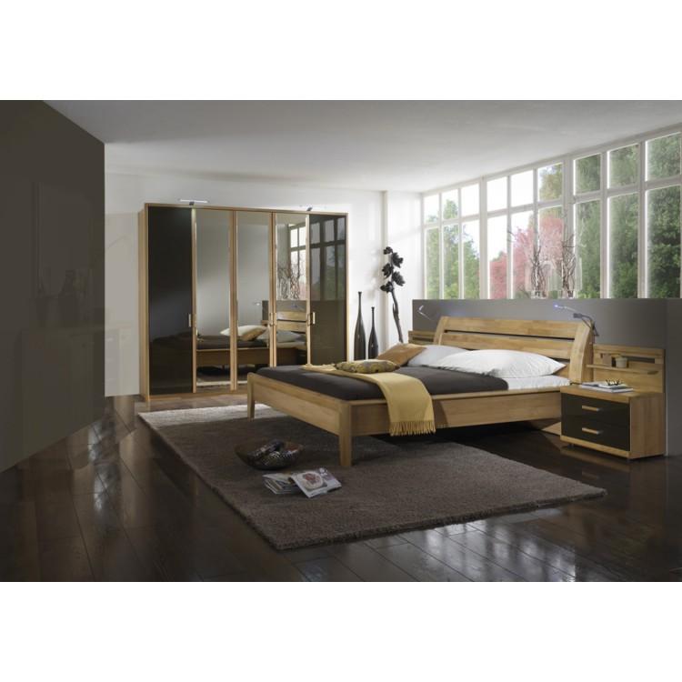komplett schlafzimmer set 4 teilig erle teilmassiv hochglanz braun bett zwei. Black Bedroom Furniture Sets. Home Design Ideas