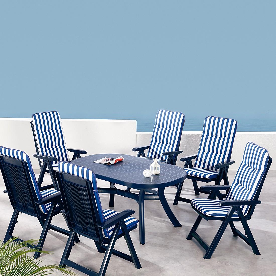 Komplett-Set Santiago 13-teilig (inkl. Auflagen) – Kunststoff/Textil – Blau/Blau-Weiß gestreift, Best Freizeitmöbel jetzt bestellen